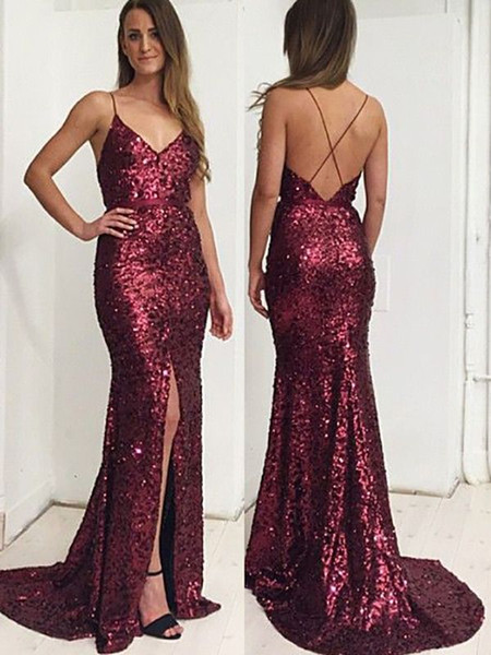 Burgundy Sequined Mermaid Prom Dresses 2018 Sexy Spaghetti V Neck Long Formal Evening Gowns Cross Backless slits black girl Party Elegant