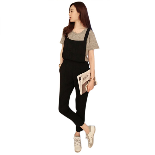 WomenTrousers For Women Jumpsuits Vintage Sleeveless Backless Casual Strape Pockets Harem Paysuits Ankle-Length Pants Large Size