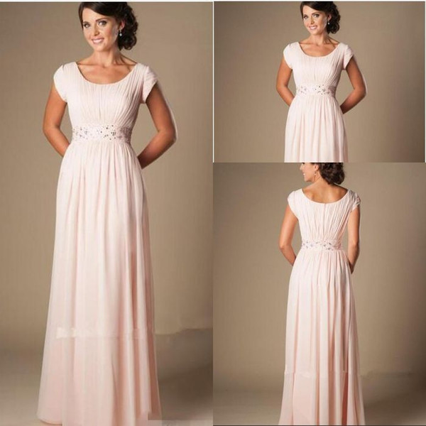 Blushing Pink Long Formal Full Length Modest Chiffon Beach Evening Bridesmaid Dresses With Cap Sleeves Beaded RuchedBridesmaids Dresses