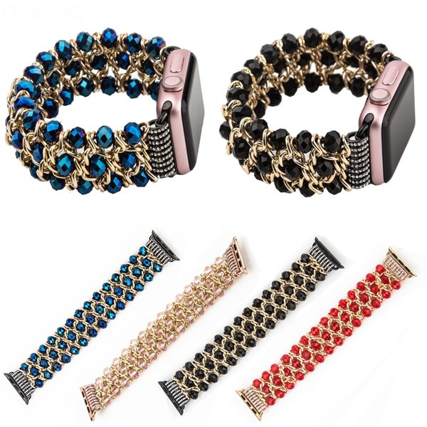 Bracciale elasticizzato catena per bracciale orologio Apple con cinturino alla moda 38mm 42mm Cinturino cinturino cinturino 40/44 per bracciale orologio metallico serie iWatch 4/2/3