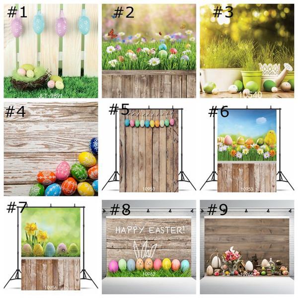 Fondo de fondo de Pascua Huevos de colores Pared de vinilo Fotografía Panel de madera Piso Decoración para el hogar Fondos de pantalla Festival Foto Retrato para estudio