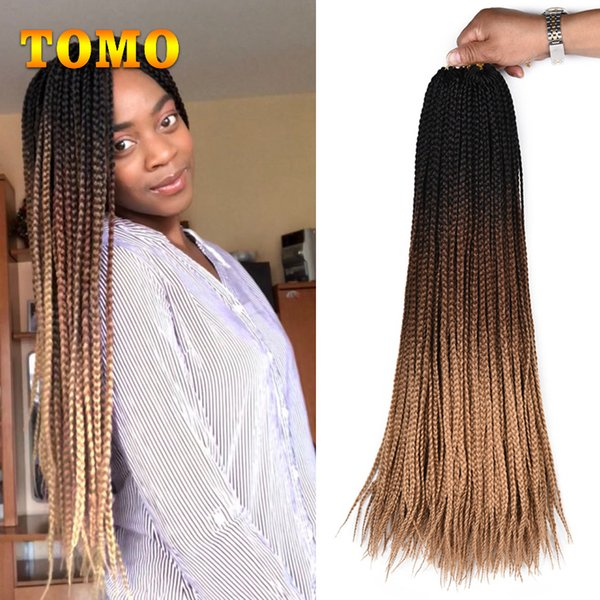 TOMO Crochet box braids 24 inch Long Ombre Synthetic Braiding Hair extensions For Black Woman Kanekalon Fiber pink,grey,brown 22 Roots/pack