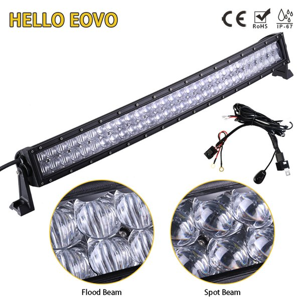 HELLO EOVO 5D 32 inch Curved LED Bar LED Light Bar for Driving Offroad Boat Car Tractor Truck 4x4 SUV ATV with Switch Wiring Kit