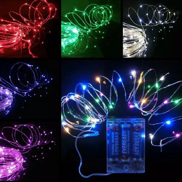 Energía de la batería AA Operado LED Cobre Alambre de Plata Luces de Hadas Cadena 50Leds 5 M Navidad Navidad Decoración Del Partido En Casa Lámpara de Semilla Al Aire Libre LLFA