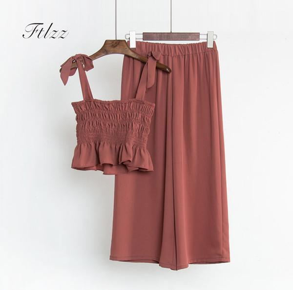 Summer Set Women Two Piece Set New 2018 Fashion Slim Spaghetti Blouse Crop Top + Pants Suits Korean Clothes Woman 2 Pcs Sets