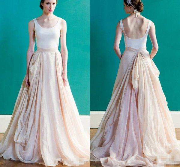 White and Blush Pink Wedding Dress Simple Vintage Style Scoop Draped Backless Peach Colored Bridal Dresses 2018 Country Rustic Design Gowns