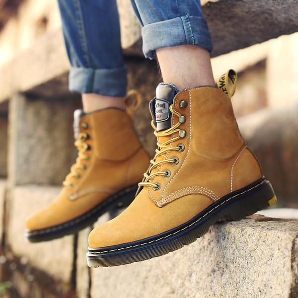 Compre 2018 Nueva Llegada Primavera Primavera Primavera Otoño Botas Hombres Zapatos De Trabajo De Cuero De Gamuza Unisex Zapatos Amante Martin Boot Zapatos De Senderismo 8820db