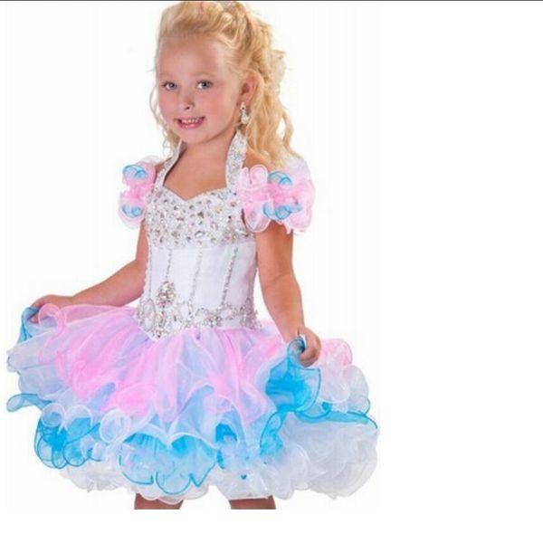 Glitz Pageant Robes Pour Filles Petite Fille Robes De Mariée En Cristal Strass Volants Robe De Concours De Cupcake Fête D'anniversaire Fille De Fleur De Mariage