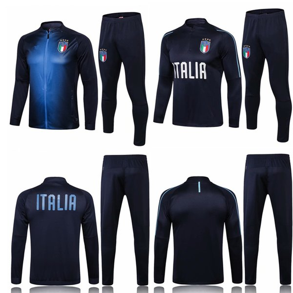 Acheter 2018 2019 Survêtement Italie Survêtement PIRLO BUFFON DE ROSSI BELOTTI Maillot De Football Kit Maillot De Foot Italie Survêtement De $26.4 Du