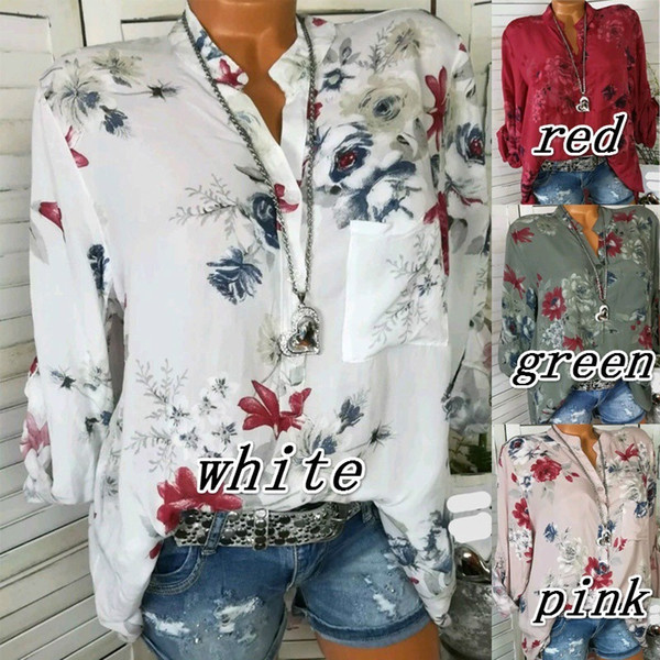 Plus size women 2018 new fashion Cotton Blend pullover style V-neck flowers print long-sleeved shirt loose shirt jacket 5 color S-5XL