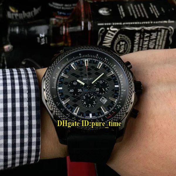 Cheap New PVD Black Case Japn Miyota Quartz Chronograph Stopwatch Mens Watch Silver Case Blue Rubber Strap High Quality Gents Sport Watches