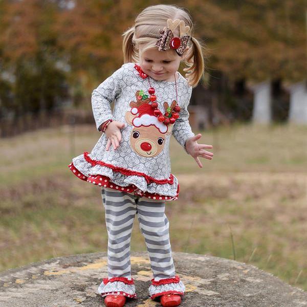 Новогодние костюмы новорожденных девочек из 2-х частей одежды комплектов рождественские детские платья брючные детские наряды оленьи девочки джемпер леггинсы лось спортивные