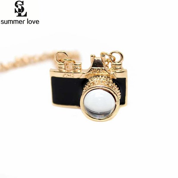 51CM Lovely Camera Pendant Necklace For Women&Girl Gold-Color Link Chain Necklaces