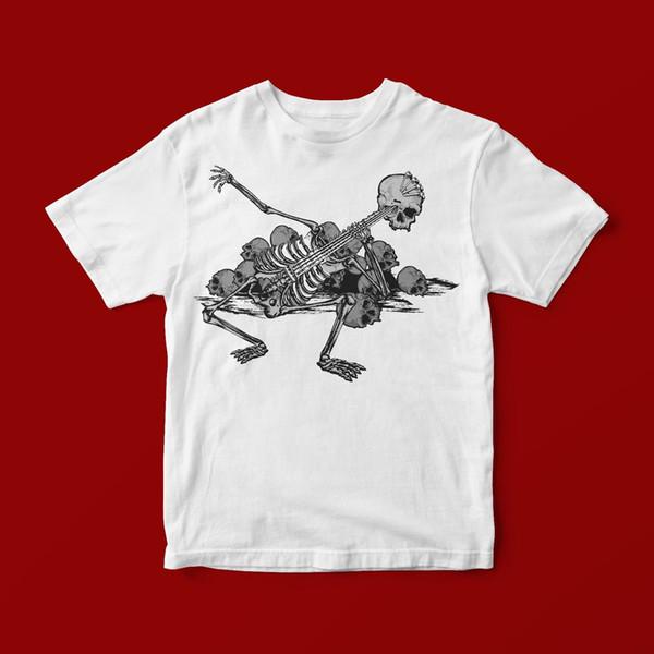 SKELETON GUITAR T-SHIRT UNISEX 419 Printed T-Shirt Men'S Short Sleeve O-Neck T-Shirts Summer Stree Twear
