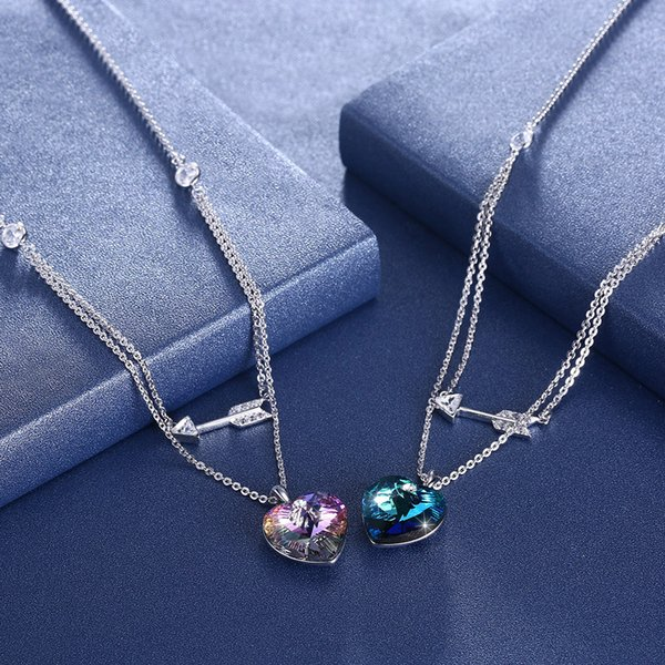 2019 New Shine Rainbow Crystal 925 Sterling Silver Arrow Ocean Heart 2 layers Wedding Pendants Necklaces