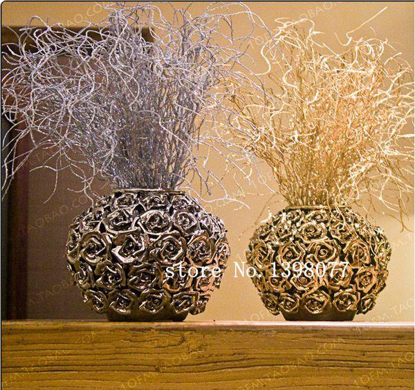 45 cm altın gümüş glitter bling çiçek dalları Eulaliopsis binata yapay çiçek yaldızlı çim Noel