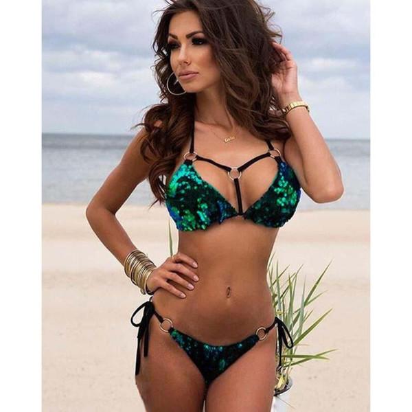 Newly Pregnant Women 'S Swimwear Halter Swimsuit Solid Sequins Set Design Two Pieces Swimwear Low Waist Bikini Suit Xv3