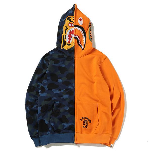 camuflaje Tiger head Tiburón de impresión Sweater Manga larga Cardigan algodón fino Pullover Lovers wear Tiempo libre movimiento Streetwear sudaderas con capucha