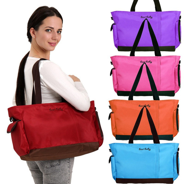 Diaper Shoulder Bag 4 Colors Waterproof Oxford Stroller Bag Toddler Mummy Shoulder Handbag Nappy Bags Thermal Insulation Storage Bag OOA5932