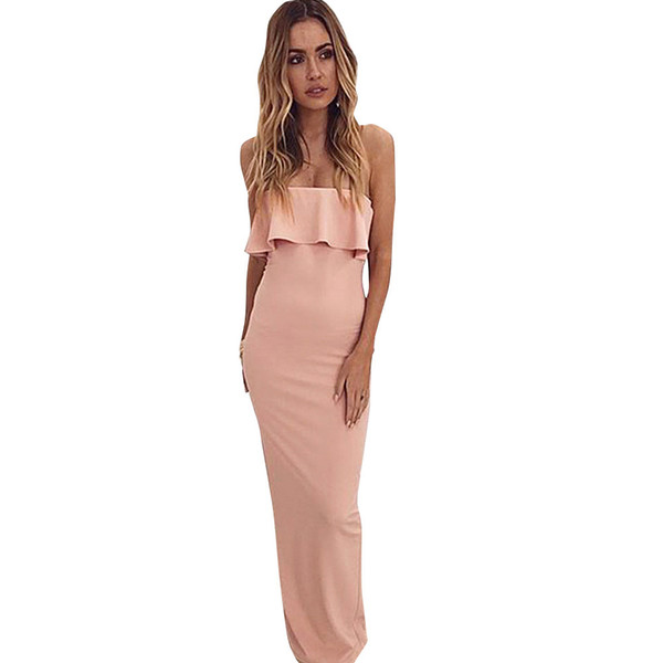 Sexy Women Off Shoulder Dresss Elegant Ladies Strapless Ruffles Maxi Dress Solid Bandeau Evening Prom Bodycon Long Dress Clothes