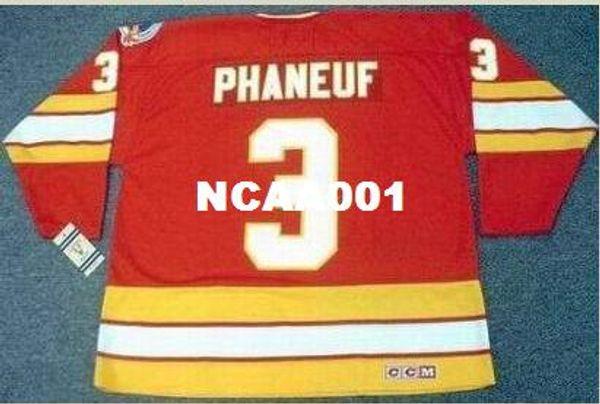 Hommes # 3 DION PHANEUF Calgary Flames 1989 Maillot de hockey Vintage Away CCM ou jersey personnalisé