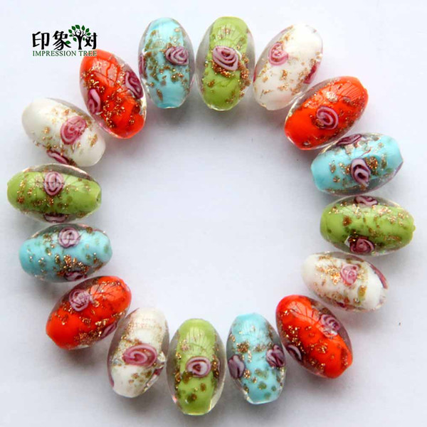 10x16mm Handmade Lampwork Flower Oval Beads Gold Sand Loose Spacer Glass Beads Multi Color For Jewelry Making 1605