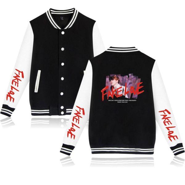 BTS Album FAKE LOVE Baseball Jackets Coats BTS Sweatshirts Women/Men Jimin Collage Jacket Fashion Casual Clothes Cool Plus Size