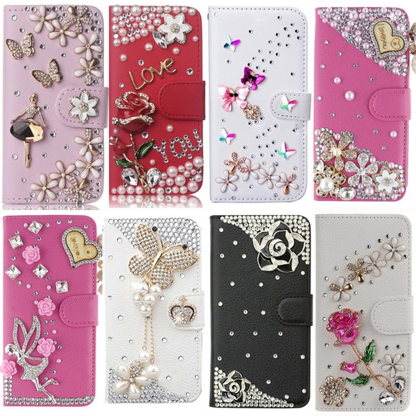 wholesale Cover For LG Q7, Diamond Rhinestone Bling PU Leather Flip Cover Wallet Case Protective