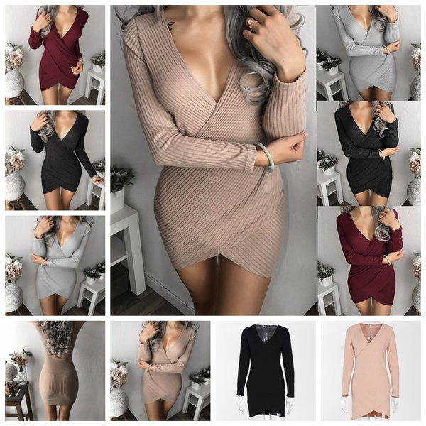 European fashion selling solid color hedging V-neck crossed pit dress skirt khaki, gray, black, burgundy support mixed batch