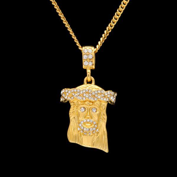 Mens Altın Buzlu Out İsa Adet Kolye Kolye Charm Altın Zincir Bling Kolye Takı Rapçiler Collier Küçük İsa Kolye 2 ADET