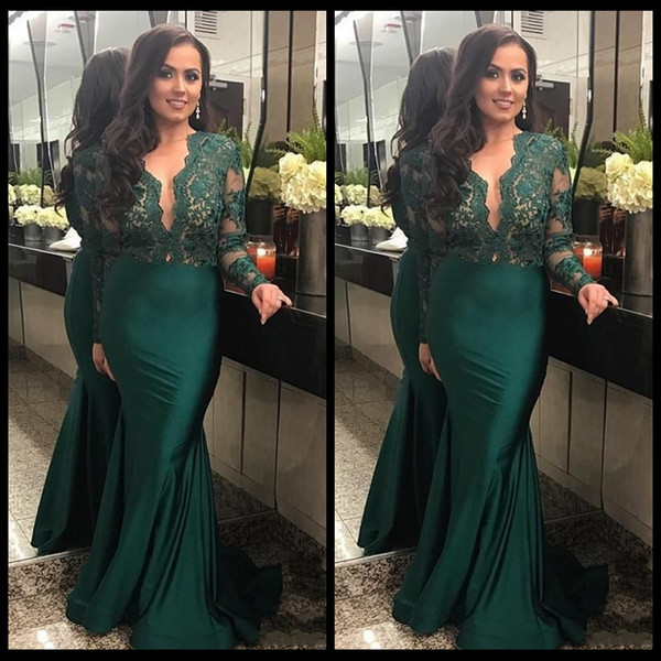 top popular 2020 Dark Green Illusion Long Sleeves Evening Dresses With Deep V Neck Lace Mermaid Prom Dress Long Party Gowns 2020