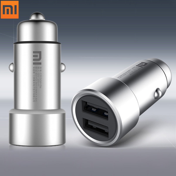 Original Xiaomi Car Charger Universal Metal Charger Fast Charging Dual USB 5V/3.6A Output 12 - 24V Input for Xiaomi iPhone Etc