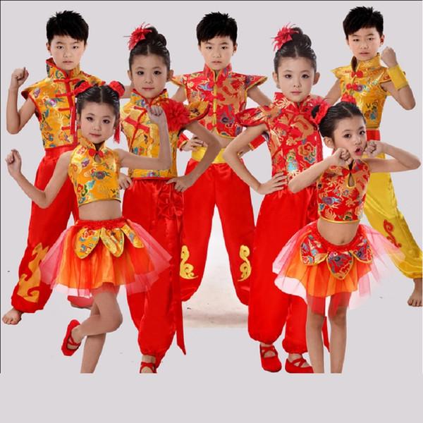 costume traditionnel chinois de danse enfants dragon enfants costumes de danse folklorique hanfu moderne pour les filles lion national pour les garçons