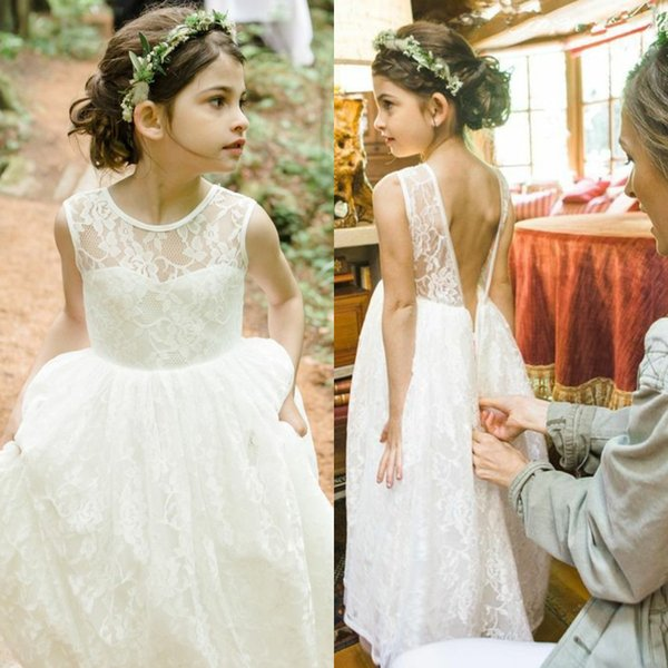 Enfants Filles Dentelle Mousseline Dos Nu Fleur princesse Pageant mariage robe de soirée