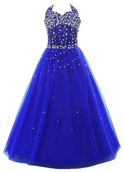 Blue skirt multilayer network children's beauty Prom Dress collar back zipper bag heart sparkling customizable cheap shipping