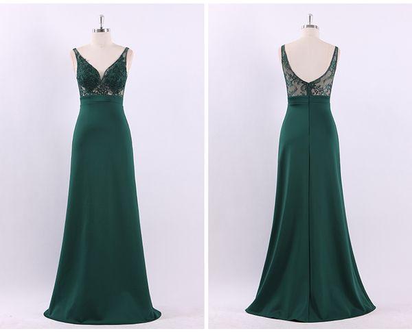 Free Shipping High Quality Work Evening Dress Elegant Shoulder Thin Large Dark Green V Sexy High Waist A Word Dress Long Party Dresses