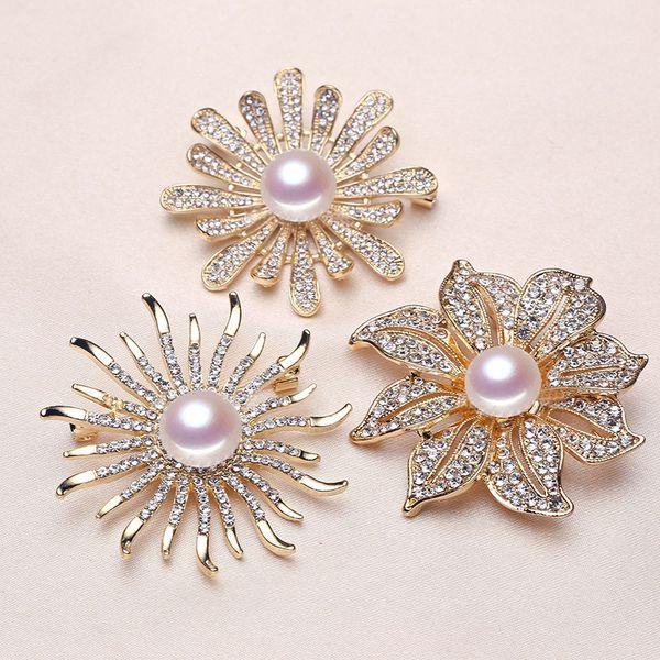 Flower Pearl Brooch Settings Rhinestone Brooch for Women Pearl Jewelry Settings Fashion Accessories 9 styles DIY Pearl Pins Christmas Gift