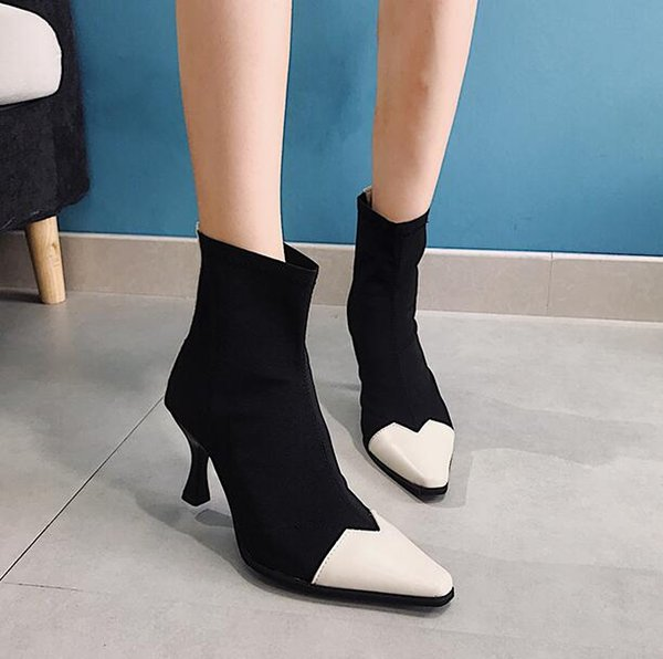 Booties children spring and autumn 2018 new high-heeled elastic stockings stiletto ins Martin boots