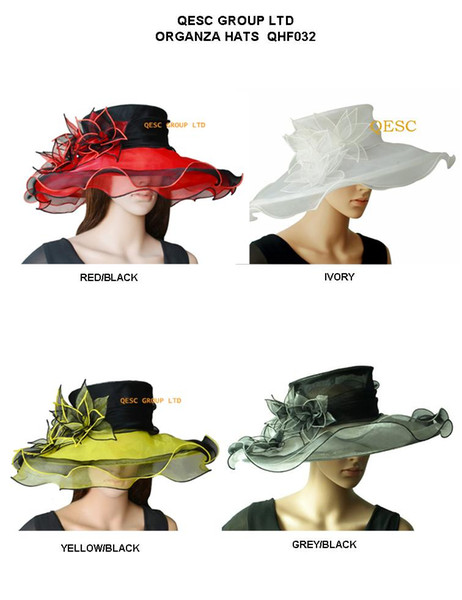 NEW Elegant wide brim organza hat /bridal hats with leaf flower for wedding/party/church/races.4 colours,5pcs/lot