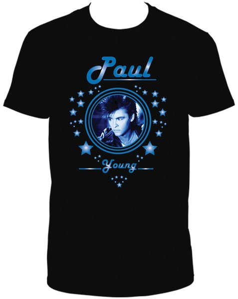 PAUL YOUNG BLACK CREW NECK SHORT SLEEVE TSHIRT T Shirt Tops Summer Cool Funny T Shirt Middle Aged Top Tee 100% Cotton