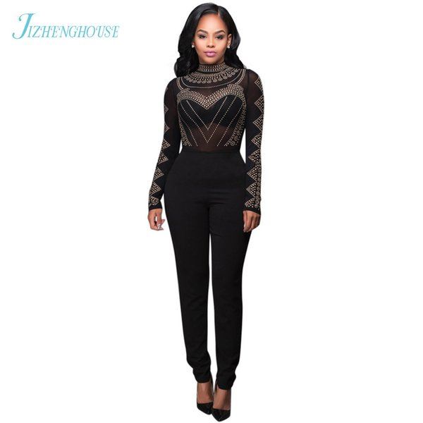 JIZHENGHOUSE Long Sleeves Hot Drilling Sexy Mesh Rompers Women Elegant Party Full Length Casual Bodycon Jumpsuits