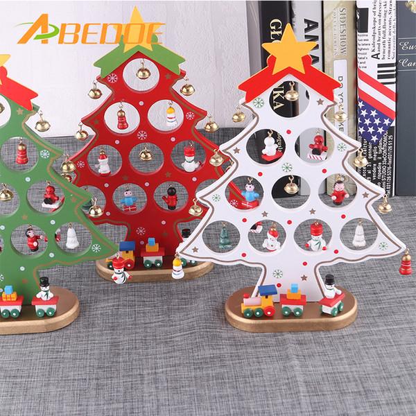Abedoe Diy Christmas Tree Wooden Christmas Ornaments Festival Party Xmas Tree Table Desk Decoration Christmas Decorations Christmas Door Decoration