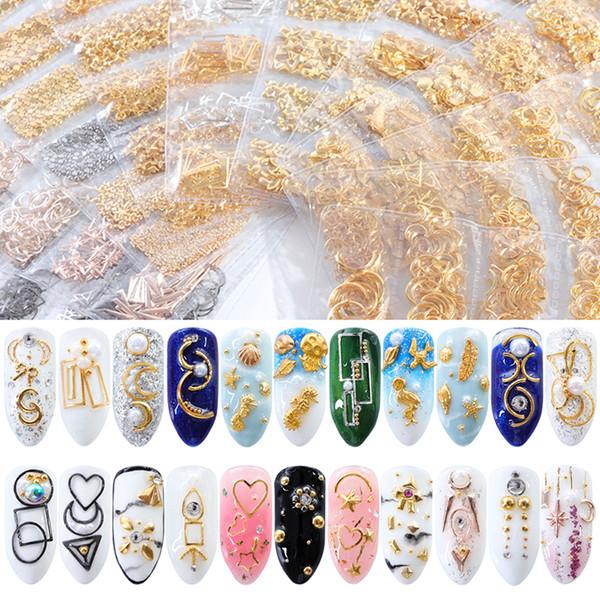 1 Bag Nail Rivets Alloy Studs Crystal Rhinestone Star Moon Metal Starfish Shell Nail Art UV Gel DIY Manicure Decoration