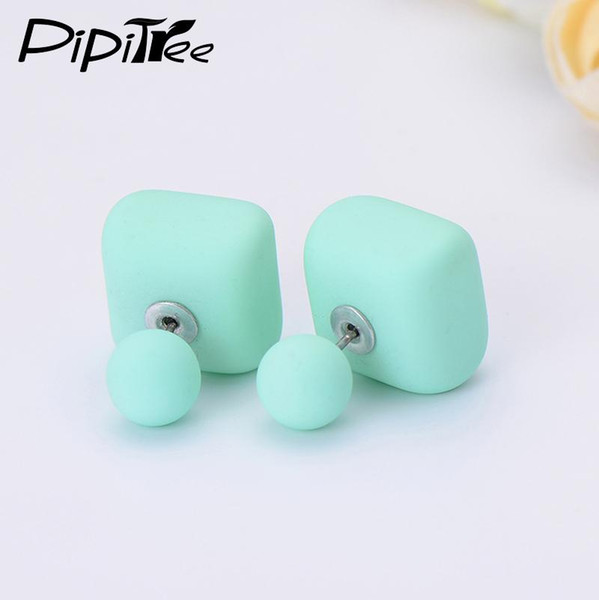 2018 New Matte Square Ball Double Pearl Earrings Female Brand Summer Jewelry Two Side Fashion Cheap Stud Earrings For Women