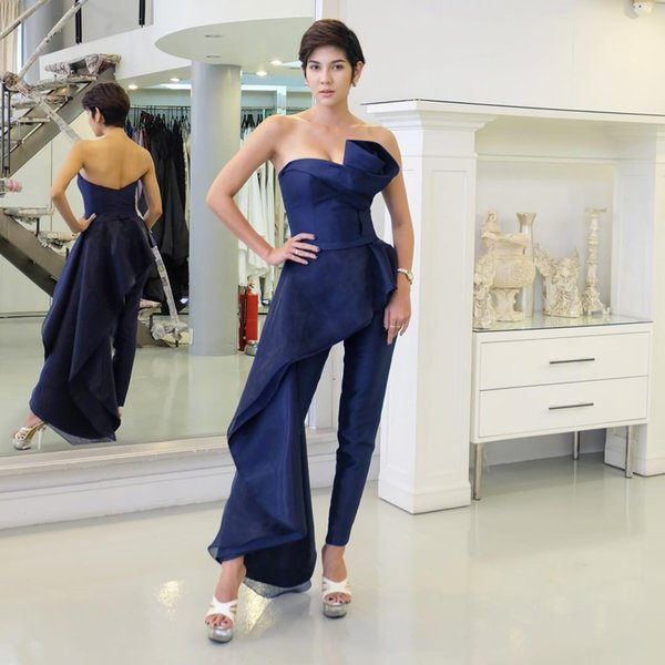 Cheap Navy Peplum Prom Dresses Jumpsuits Strapless Neckline Plus Size Formal Evening Wear Ankle Length Satin Homecoming Gowns