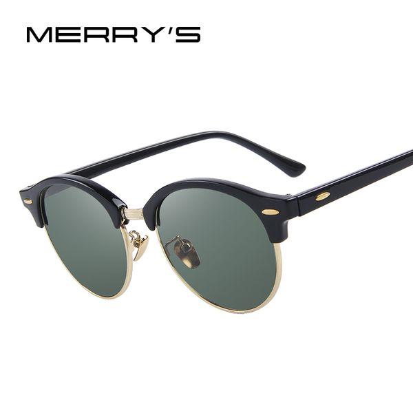 MERRY'S Erkekler Retro Perçin Polarize Güneş Gözlüğü Klasik Marka Tasarımcısı Unisex Güneş Gözlüğü Yarım Çerçeve S'8054