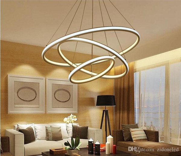 Round ring double glow led chandeliers modern led pendant lights aluminum white hanging chandelier for dining kitchen room high brightness