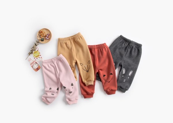 Baby Kids Animal Long Pants Plus Fleece Thickened Winter 2018 Baby Boutique Clothing Infant Toddlers Children Warm Long Trousers
