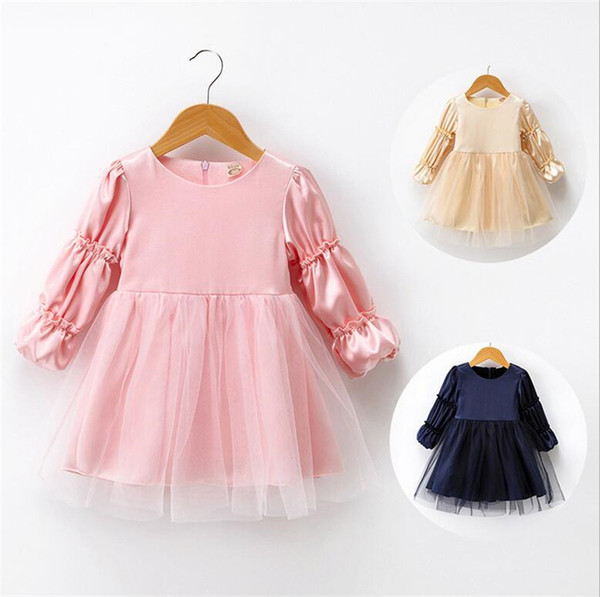 Girls Dress Long Sleeve Kids Lace Dresses Children Casual Princess Style Costume 2018 Autumn Ball Gown Outfits For Girl