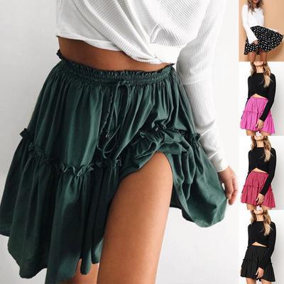 Lace up short skirt women Ruffle high waist bow tie A-line skirts female bottom Vintage mini skirt summer beach